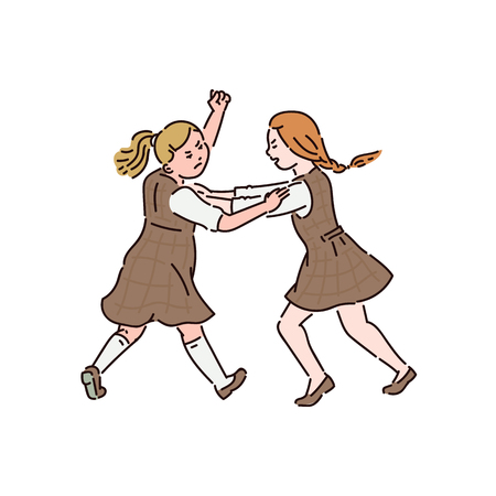 Two little girls in dresses are fighting with each other. Conflict and fight, violence and bullying between children at school. Vector cartoon illustration for posters, banners. Ilustracja
