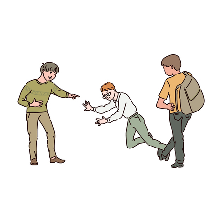 Two teen boys put the bandwagon to a nerd boy with glasses. Child and adolescent conflict, fight, violence and bullying at school. Isolated vector cartoon illustration.