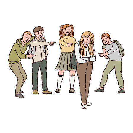 A group of children or teenagers scoff, show fingers and bully a sad girl. Children conflict, violence and bullying at school, vector cartoon illustration. Ilustracja