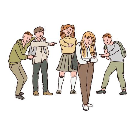 Un grupo de niños o adolescentes se burla, muestra los dedos e intimida a una niña triste. Los niños entran en conflicto, la violencia y el acoso en la escuela, ilustración de dibujos animados de vectores.