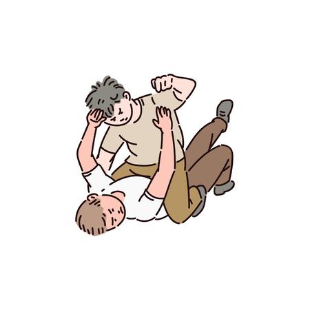 Due bulli sono sdraiati a terra e litigano tra loro. Cattivo comportamento violento, bullismo scolastico, risse e abusi. I bambini vector l'illustrazione isolata del fumetto su priorità bassa bianca.