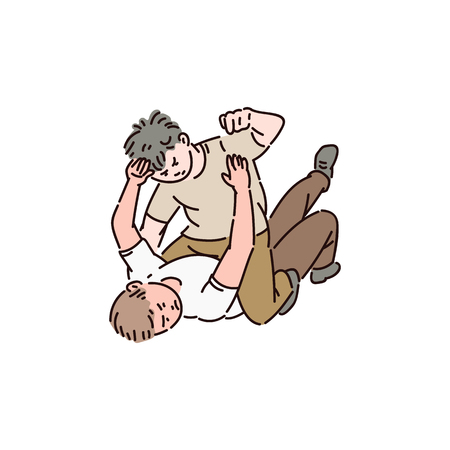 Two bully boys are lying on the ground and fighting with each other. Violent bad behavior, school bullying, fighting, and abuse. Children vector cartoon isolated illustration on white background.
