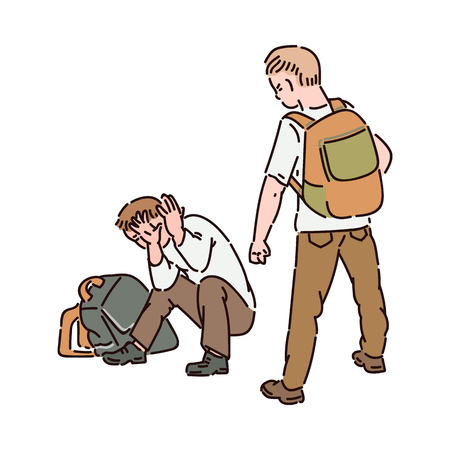 Aggressive boy hooligan with a backpack offends another boy locking himself with his hands. Conflicts between children, fight and bullying, vector isolated cartoon illustration.
