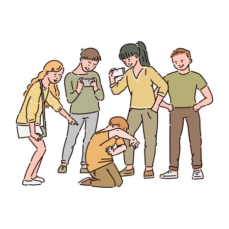 Een groep kinderen of tieners pest een jongen en filmt dit op video op een smartphone. Sociaal en cyberpesten op school, kindermishandeling, cartoon vectorillustratie. Vector Illustratie