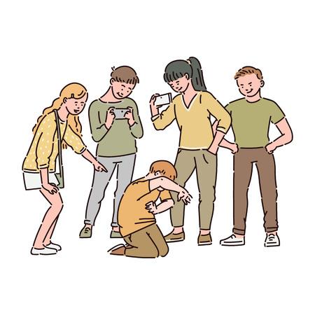 Un grupo de niños o adolescentes está intimidando a un niño y filmando esto en un video en un teléfono inteligente. Acoso social y cibernético en la escuela, abuso infantil, ilustración de dibujos animados de vectores. Ilustración de vector