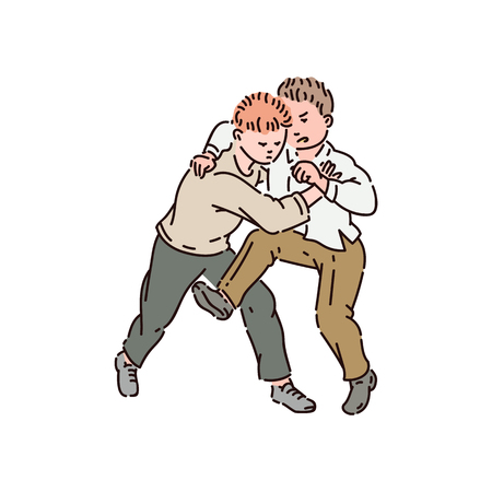 Two boys fight each other and kick. Violent bad behavior, school bullying, fighting and abuse. Children vector cartoon isolated illustration.