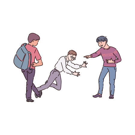 Aggressive bullies put the bandwagon and mock the nerd boy with glasses. Child and teen conflict, fight, violence and bullying at school, vector cartoon illustration.