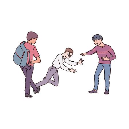 Los matones agresivos se suben al carro y se burlan del chico nerd con gafas. Conflicto infantil y adolescente, lucha, violencia e intimidación en la escuela, ilustración de dibujos animados de vectores.
