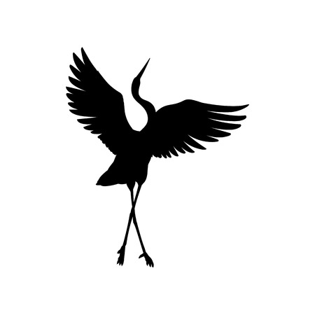 Silhouette or shadow black ink symbol of a crane bird or heron standing and dancing icon. Stork outline cutting template or creative background vector illustration isolated on white. Vettoriali