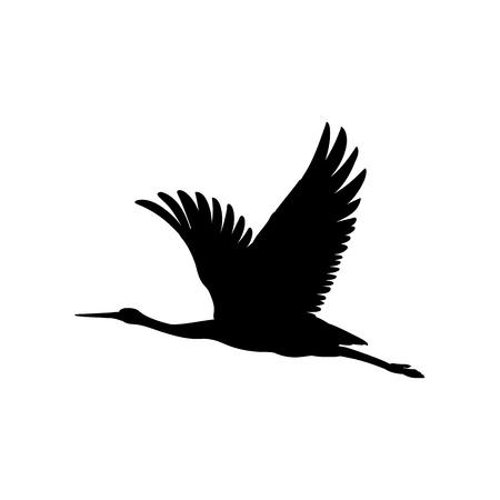 Simbolo di inchiostro nero sagoma o ombra di un uccello gru o icona di volo dell'airone. Modello di taglio di contorno di cicogna o illustrazione vettoriale di sfondo creativo isolato su bianco. Vettoriali