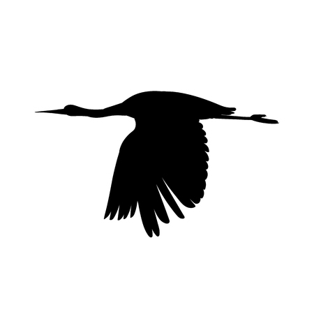 Silhouette or shadow black ink symbol of a crane bird or heron flying icon. Stork outline cutting template or creative background vector illustration isolated on white.