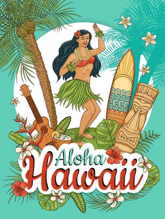 Hawaiian woman stand dancing hula surrounded by palms and flowers cartoon style, vector illustration. Aloha Hawaii summer poster design, girl and guitar and surfboard and totem and tropical plants