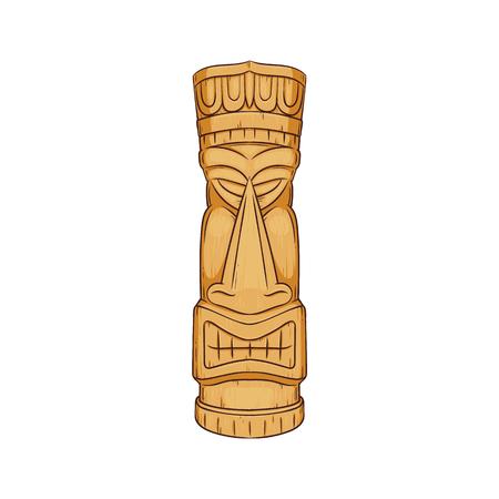 Estatua hawaiana de Tiki - escultura de madera de la cara del tótem de las culturas polinesias, decoración del símbolo de la ética tropical de Hawai, ilustración vectorial aislada de dibujos animados sobre fondo blanco.