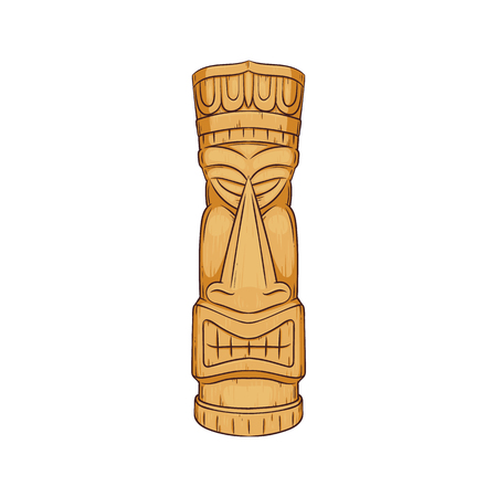 Hawaiian Tiki statue - wooden totem face sculpture by polynesian cultures, tropical ethic symbol decoration from Hawaii, cartoon isolated vector illustration on white background. Archivio Fotografico - 128170015