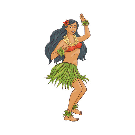 Hawaiian dancer girl with flower in her hair and tropical costume, happy beautiful woman doing hula dance in traditional leaf skirt and lei, isolated cartoon character vector illustration