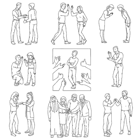 Diverse cultural gestures of appreciation and respect vector icons set of illustrations isolated on white background. People greeting and hand shaking each other concept.