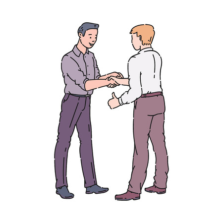 Male colleagues or men coworkers shaking hands vector illustration isolated on white background. Sharing good result in partnership or friends greeting concept.
