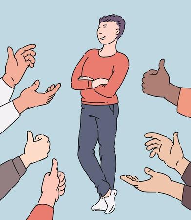 Glücklicher Mann, der Zustimmung und Anerkennung erhält, Zeichentrickfigur, umgeben von Händen in Applaus und Daumen hoch, Mitarbeiter, die die Leute genehmigen, isolierte handgezeichnete Vektorillustration
