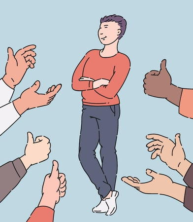 Happy man receiving approval and recognition, cartoon character surrounded by hands in applause and thumbs up, employee who people approve, isolated hand drawn vector illustration