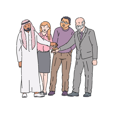 Group of colleagues perform a gesture of agreement or partnership vector illustration isolated on a white background. Colleagues celebrate the victory or successful teamwork.
