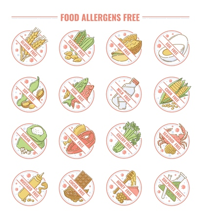 Set of icons and labels for products allergens free with allergies intolerance. Set of icons for diet and health, milk and shugar free products, egg and corn free. Vector flat illustration.