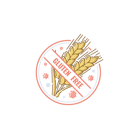 Gluten free label badge for healthy no-allergen food. Crossed wheat drawing in hand drawn circle icon label, for people with allergy or Celiac disease, isolated vector illustration on white background Vettoriali