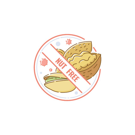 Nut free sign for food allergy information, cartoon icon label for allergen product, circle sticker with hand drawn nuts crossed out inside packaging sticker stamp, isolated vector illustration