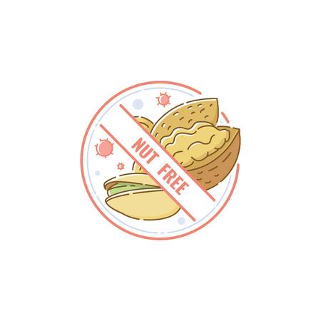 Signo libre de nueces para información sobre alergias alimentarias, etiqueta de icono de dibujos animados para productos alérgenos, etiqueta circular con nueces dibujadas a mano tachadas dentro del sello de etiqueta de empaque, ilustración vectorial aislada