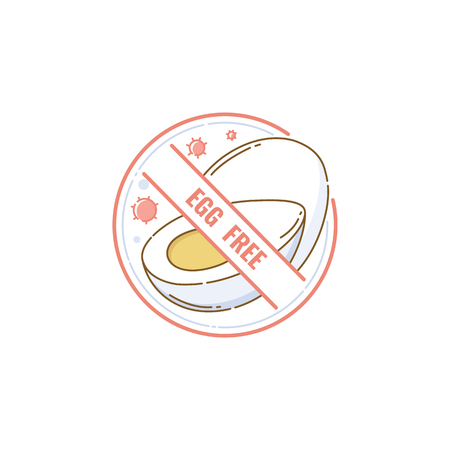 Egg free food label icon. Symbol for vegan vegetarian product or recipe for healthy nutrition and allergen restriction, hand drawn cartoon eggs crossed out in isolated vector illustration sticker