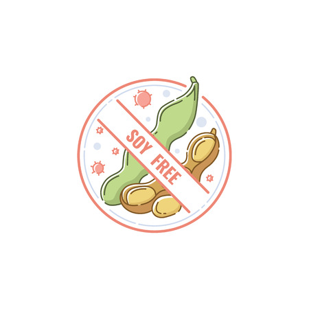 Soy free food label for diet restriction and healthy nutrition, no allergen icon stamp with pastel soybean drawing hand drawn in cartoon style, isolated vector illustration on white background Stock Illustratie