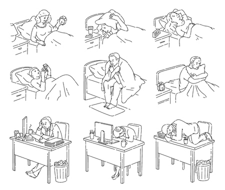 People having trouble with sleeping and suffering from insomnia icon vector illustration set isolated on white background. Sleepless men and women line art characters. Illustration