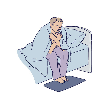 Depressed man sitting at bed edge covered with blanket sketch style, vector illustration isolated on white background. Tired man suffering insomnia or anxiety thoughts or nightmares 向量圖像