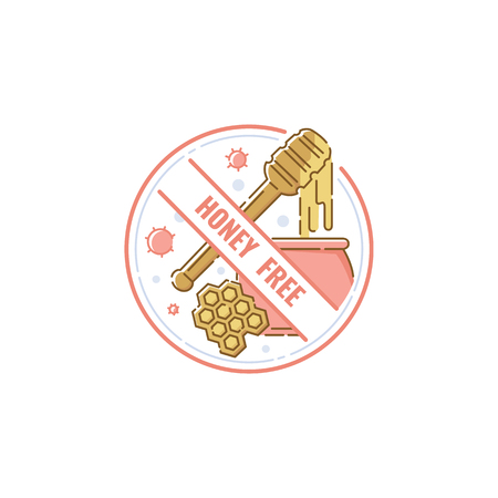 Honey-free food safety label. Hand drawn cartoon icon of pot of mead and honeycomb with wooden dipper isolated on white background, allergy warning and no allergen sticker - vector illustration