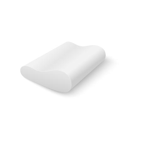 Cuscino ortopedico in bianco o cuscino da tessuto pulito illustrazione realistica di vettore 3d isolato su priorità bassa bianca. Oggetto tessile per la casa per modello di progettazione di mockup di biancheria da letto. Vettoriali