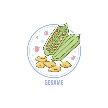 Icono de cápsulas de sésamo y semillas en círculo estilo plano lineal, ilustración de vectores aislado sobre fondo blanco. Símbolo del ingrediente alérgeno alimentario, hasta el icono de línea de color