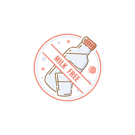Milk and lactose free product icon concept with bottle. Lactose intolerance, milk allergy, isolated vector flat icon illustration. Illustration