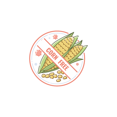 Corn free icon and lable, mark for healthy and dietary food with corn intolerance. Allergy icon, isolated vector flat illustration on white background. Illustration