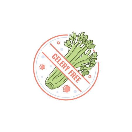 Celery free icon and symbol for diet and healthy product. Label and icon for allergen free food. Isolated flat vector illustration on white background.