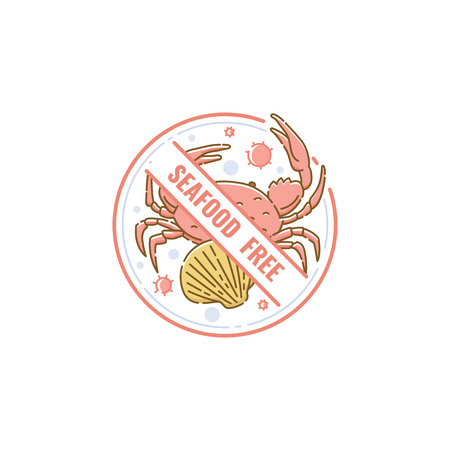Seafood free icon and label with crab and shell. Allergen free food and products without seafood for diet, vector flat icon illustration.