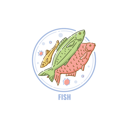 Icon of a fishes group in circle flat linear style, vector illustration isolated on white background. Symbol of seafood allergen ingredient, water animal color line icon Vectores
