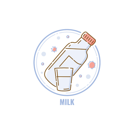 Bottle and glass of milk in circle icon flat linear style, vector illustration isolated on white background. Symbol of lactose allergen ingredient, beverage color line icon Çizim