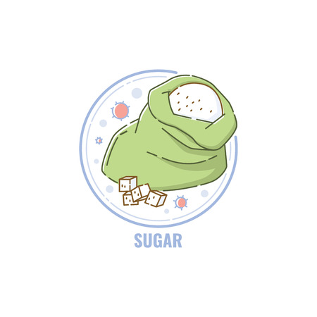 Label or badge sign indicating sugar allergen content in the food in sketch cartoon style vector illustration isolated on white background. Icon for healthy natural products.