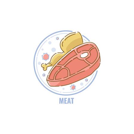 Etiqueta o placa que muestra el contenido de alérgenos de productos animales como pollo y carne en la ilustración de vector de estilo de dibujos animados de boceto aislado sobre fondo blanco. Ilustración de vector