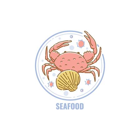 Etiqueta o placa para productos que contienen elementos alérgenos de mariscos en la ilustración de vector de estilo de dibujos animados de boceto aislado sobre fondo blanco. Icono de advertencia para el paquete.