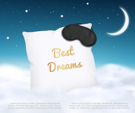 Diseño de banner con almohada blanca y antifaz para dormir y estilo realista de cielo estrellado, ilustración vectorial sobre fondo azul noche con luna y nubes. Cartel publicitario de los mejores sueños de cojín de cama suave. Ilustración de vector
