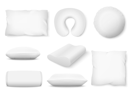 Set of different shaped soft white pillows realistic style, vector illustration isolated on white background. Mockup of square and roll and round and orthopedic bedroom cushions and travel pillow