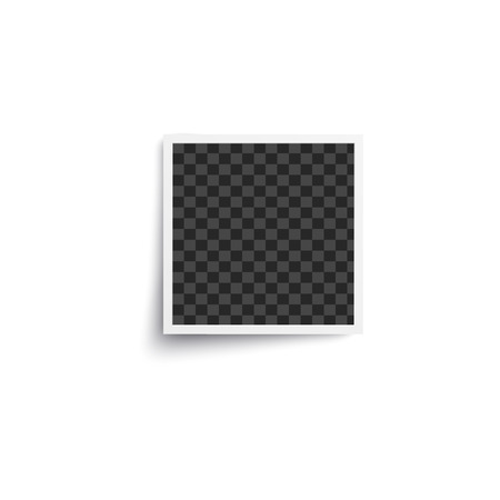 Realistic blank photo frame of vintage square instant picture with white border. Empty realistic snapshot mockup with shadow isolated on white background - vector illustration