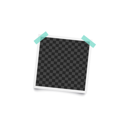 Vintage instant picture - realistic mockup, blank square photograph frame stuck to wall with colorful duct tape, cool stationery or scrapbooking album element - isolated vector illustration Illustration