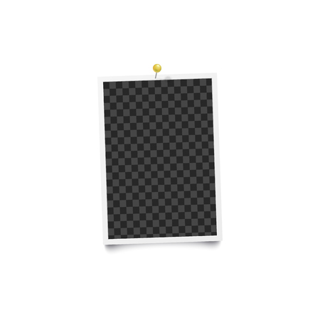 Blank retro photo frame pinned on a wall with shadow 3d realistic mockup vector illustration isolated on white background. Photo album cards template for memorable moments.