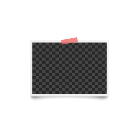 Album blank or empty photo horizontal frame placed on wall by one piece of red adhesive tape mockup. Photorealistic retro card backdrop vector illustration isolated on white.